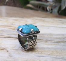 טבעת כסף בוהמית בטורקיז