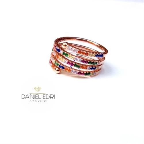 טבעת נחש צבעונית- ציפוי זהב אדום