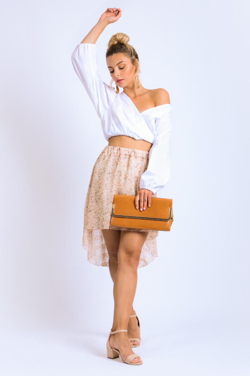 חצאית שיפון מיה ורוד פרחוני