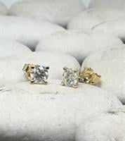 עגילי יהלומים 0.80 קראט דגם מרטיני   עגילי יהלומים צמודים לאוזן   עגילי יהלומים סוליטר בזול