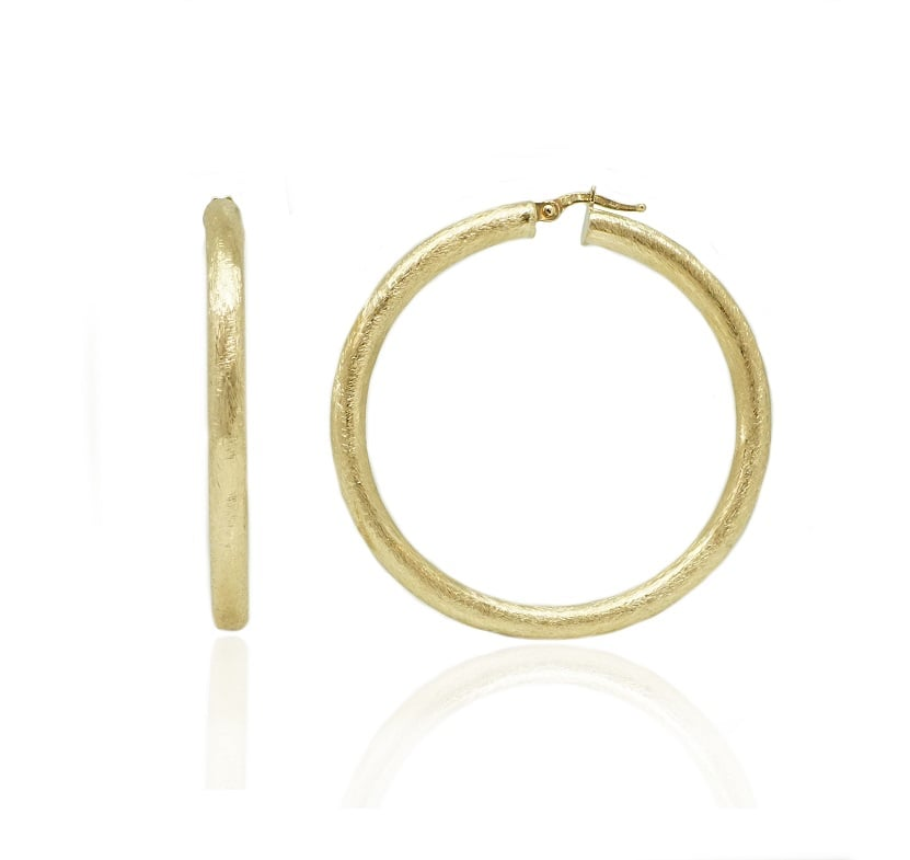 עגילי חישוק איטלקי זהב לבן מאט מחוספס 4.8 סמ