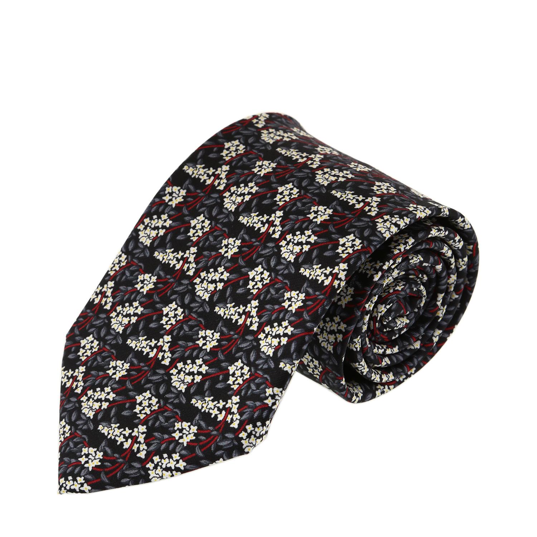 עניבה עלים שילוב אפור שחור