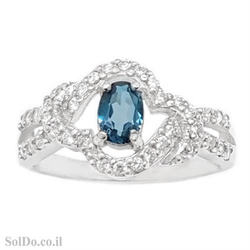 טבעת מכסף משובצת אבן טופז כחולה  וזרקונים RG8794 | תכשיטי כסף 925 | טבעות כסף