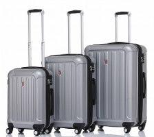 סט 3 מזוודות איכותיות SWISS ALPS - צבע כסוף