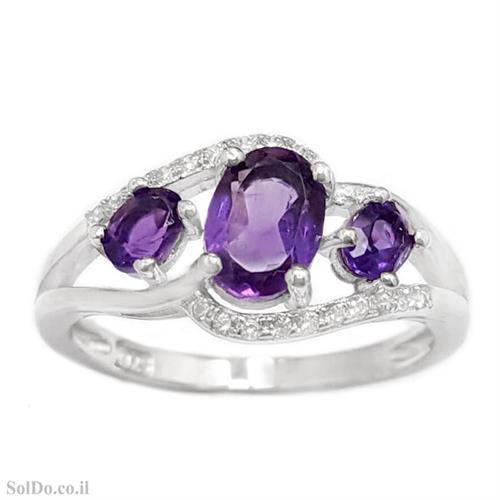 טבעת כסף משובצת אבני אמטיסט וזרקונים RG8757 | תכשיטי כסף 925 | טבעות כסף