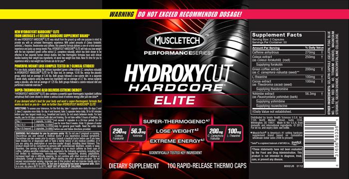 הידרוקסיקאט שורף שומן  Hydroxycut, Hardcore Elite, Rapid-Release Thermo Caps