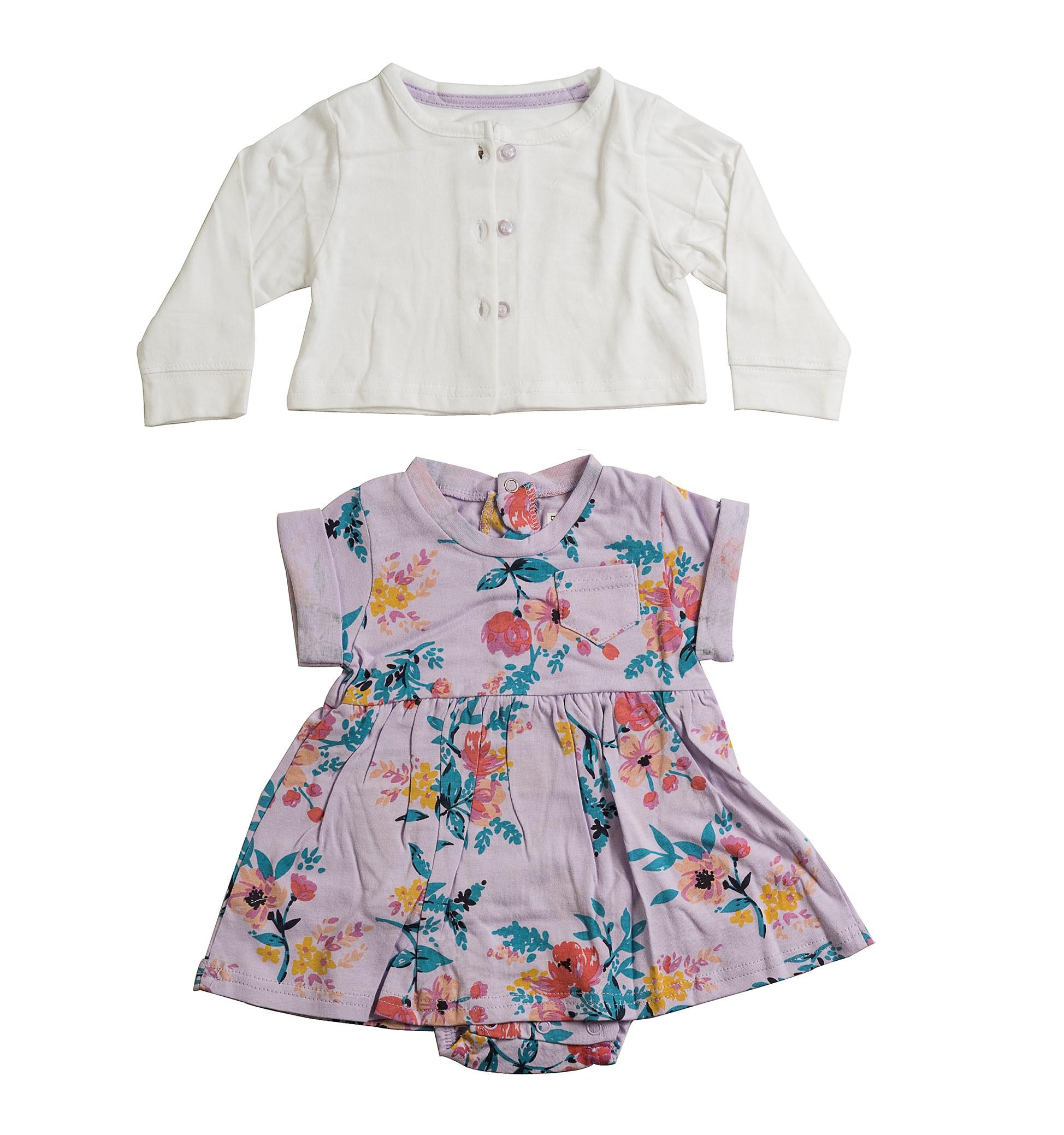 שמלת אוברול ועליונית 4611  סגול לילך - לבן