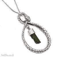 תליון מכסף נחש משובץ אבן טורמלין צבע ירוק T6080 | תכשיטי כסף
