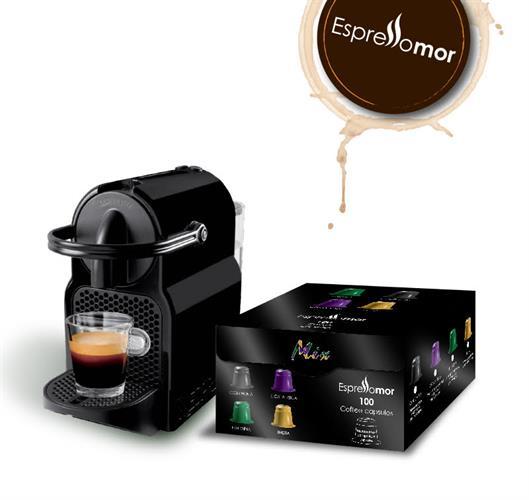 מכונת Nespresso inissia מקורית + 100 קפסולות וזוג כוסות אספרסו במתנה
