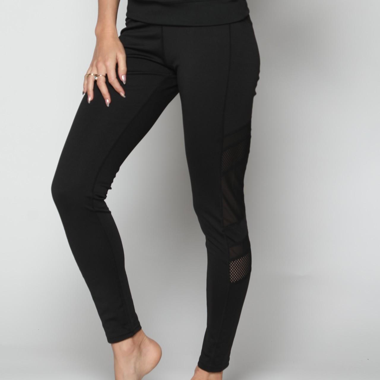 מכנס אקטיב נשים ארוך משולב רשת צד שחור