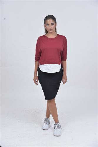 חולצת לייקרה חצי חצי אדומה