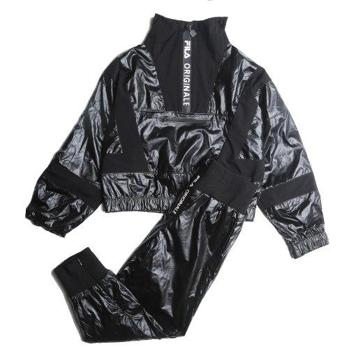 חליפת ניילון עליונית קרופ שחורה מבריקה FILA - מידות 6-16