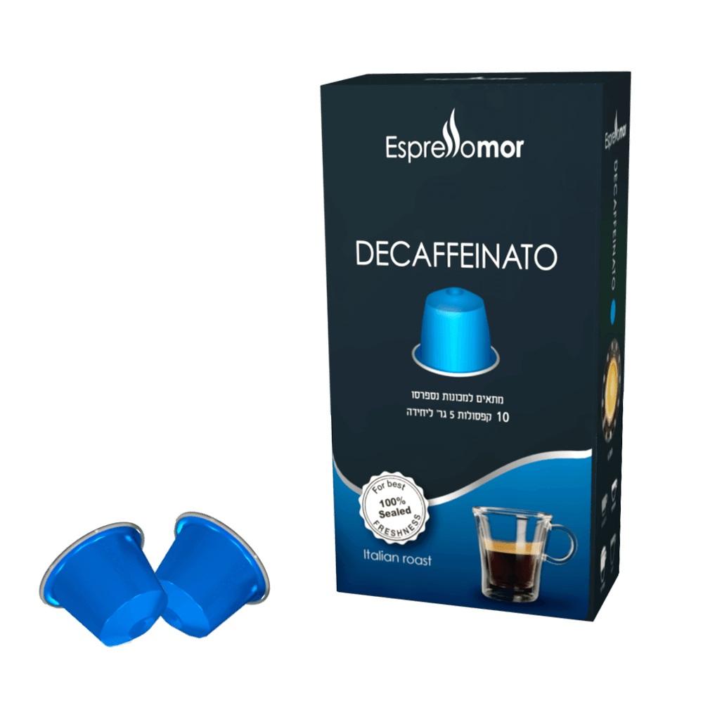 10 קפסולות תואם נספרסו נטול קפאין אספרסו מור decaffeinato
