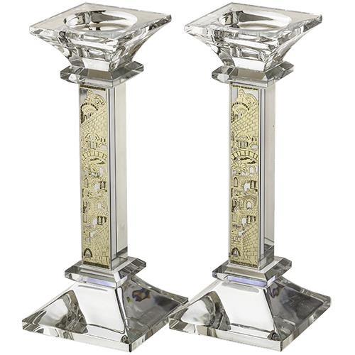 "Crystal candle holders with gold laser cut plate ""Jerusalem"""