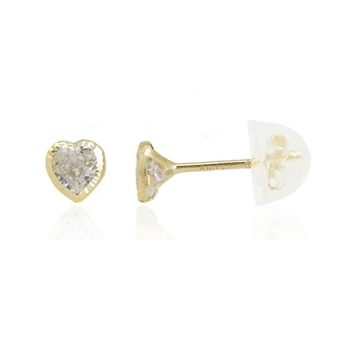 עגילי זהב לב עם דוגמא מתוקה וזרקונים
