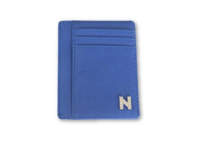 ארנק דמוי עו כחול עם אות כסף משובצת