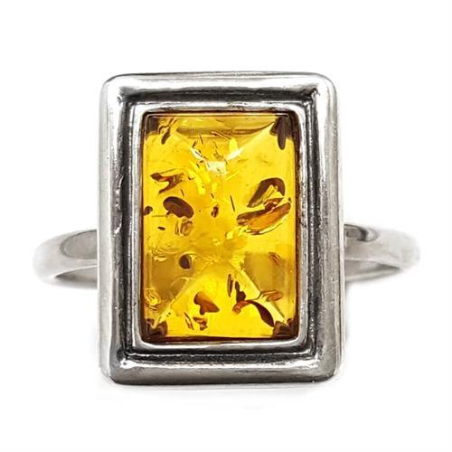 טבעת מכסף משובצת ענבר RG5919 | תכשיטי כסף 925 | טבעות כסף