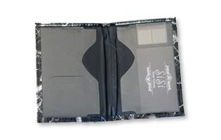 כיסוי לדרכון דמוי עור שיש שחור