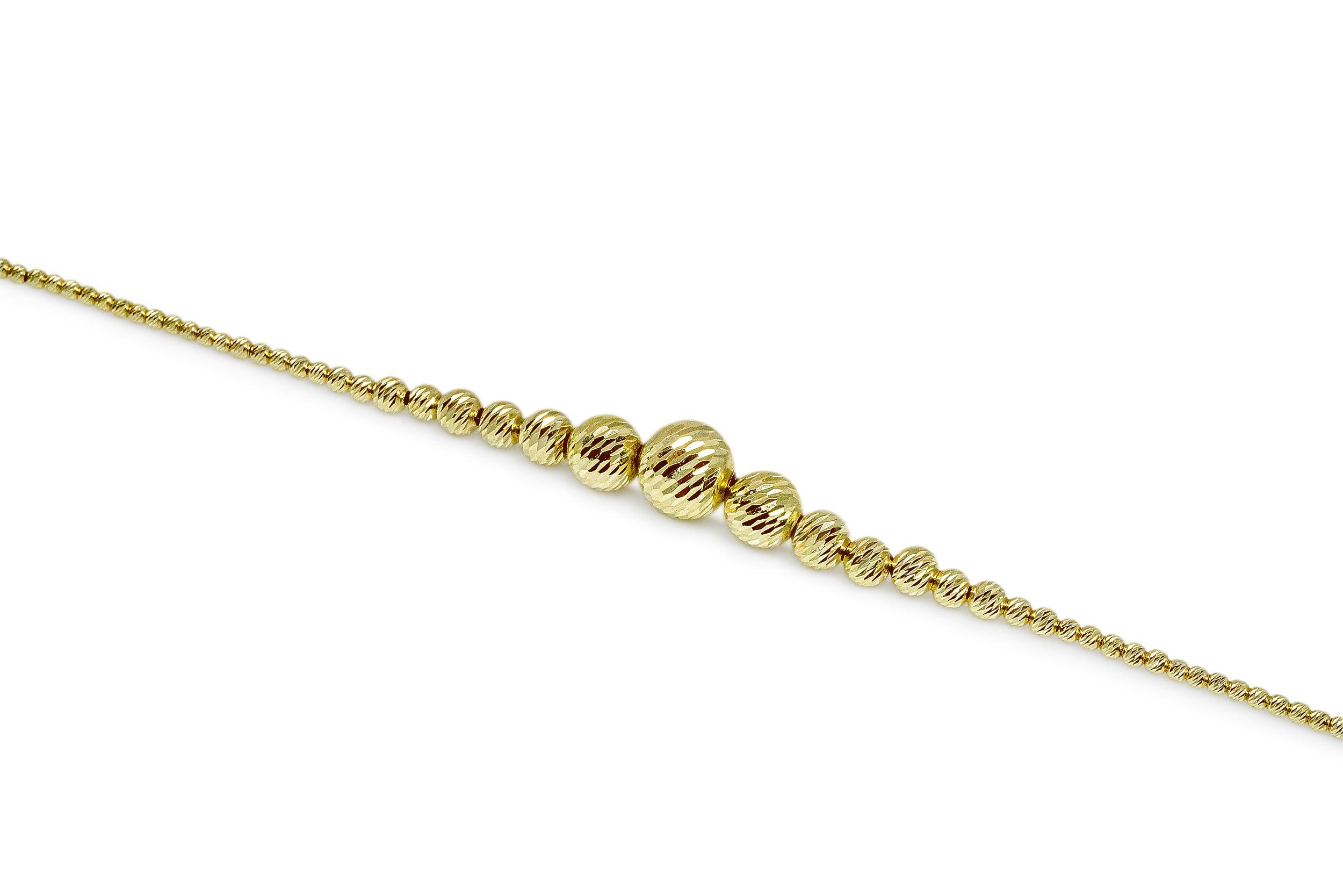 צמיד כדורים לאישה זהב 14 קראט   צמיד זהב   כדורי זהב לנשים   צמיד יד לאישה   צמידי זהב לנשים