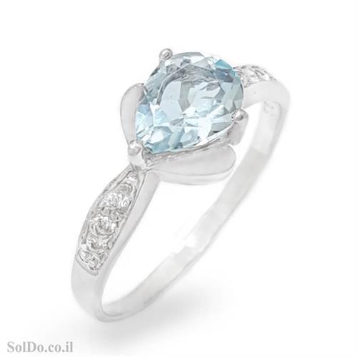 טבעת מכסף משובצת אבן טופז כחולה וזרקונים RG6126 | תכשיטי כסף 925 | טבעות כסף