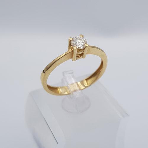 טבעת זהב צהוב עם יהלום