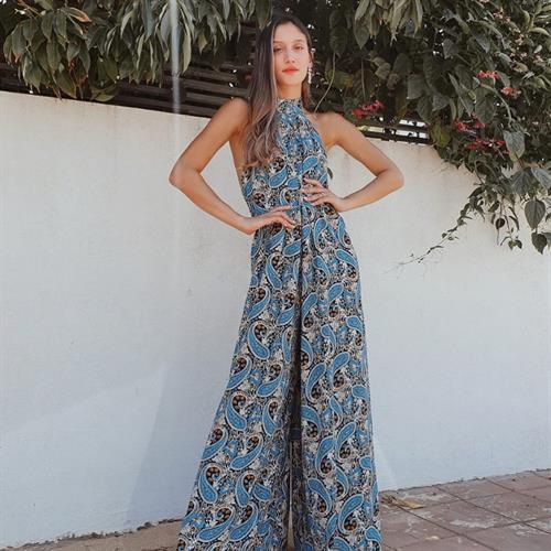 אוברול לאורה - פרינט כחול
