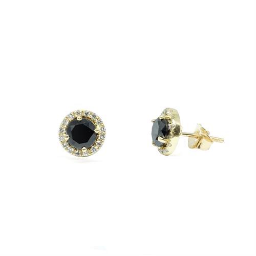 עגילי יהלומים שחורים לאישה עגילים עם יהלומים צמודים
