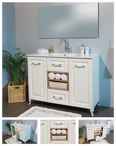 ארון אמבטיה וינטג' עומד- מדפי עץ 2 מגירות ו 2 דלתות