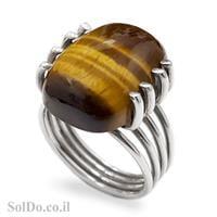 טבעת כסף משובצת אבן עין הנמר RG5995