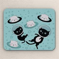 פד מעוצב לעכבר | משטח לעכבר מחשב חתולים בחלל | מתנה לאוהבי חתולים