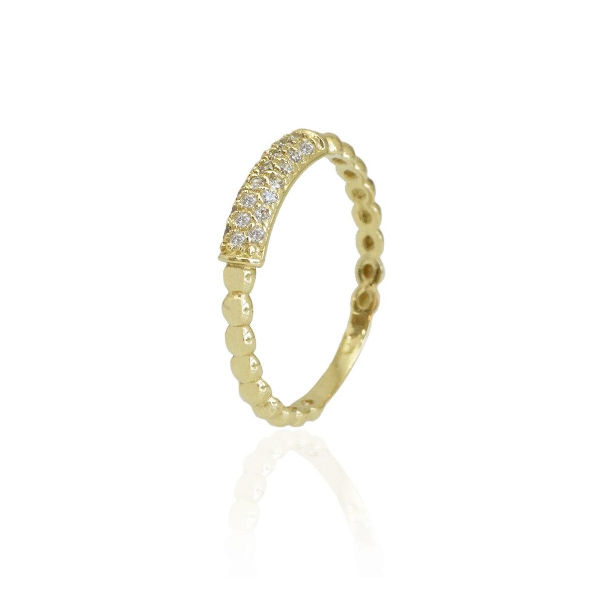 טבעת מעוצבת בשילוב זרקונים בזהב 14 קראט