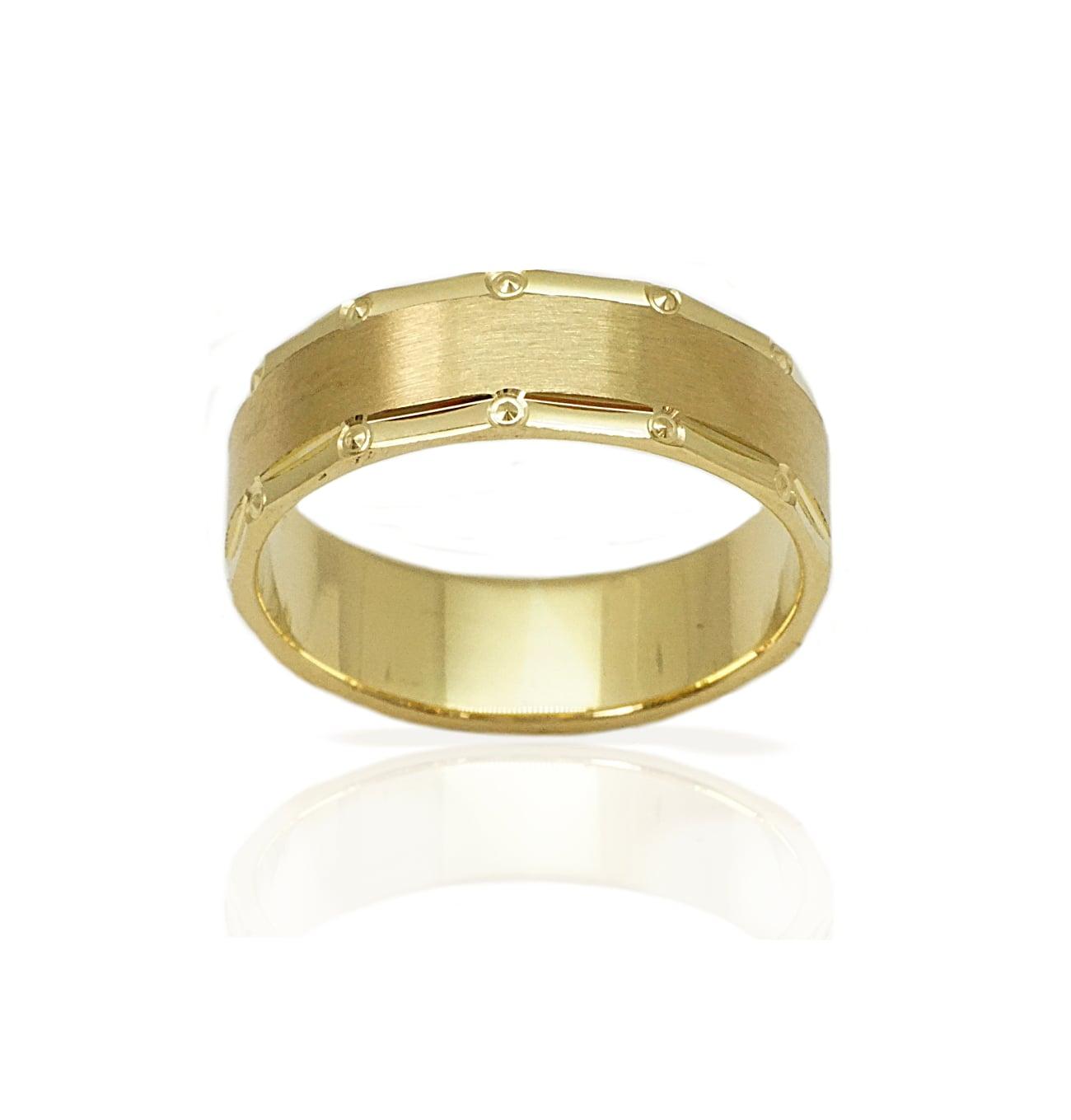 טבעת נישואין מעוצבת עם טקסטורת הברשה והברגה - דגם M140