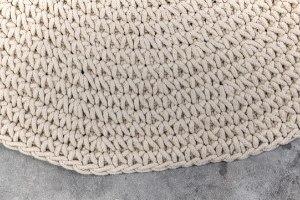 שטיח עגול סרוג - צבע חול
