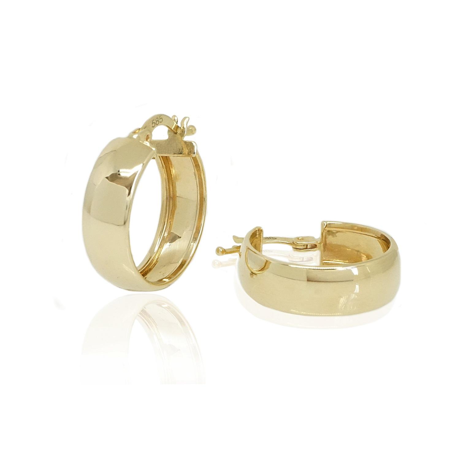 עגילי זהב בינוניים רחבים 1.9 סמ