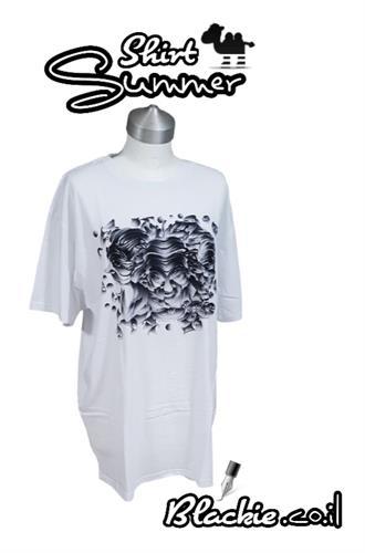 חולצה לבנה לקיץ הדפס גראפי קומבינשין השלושה