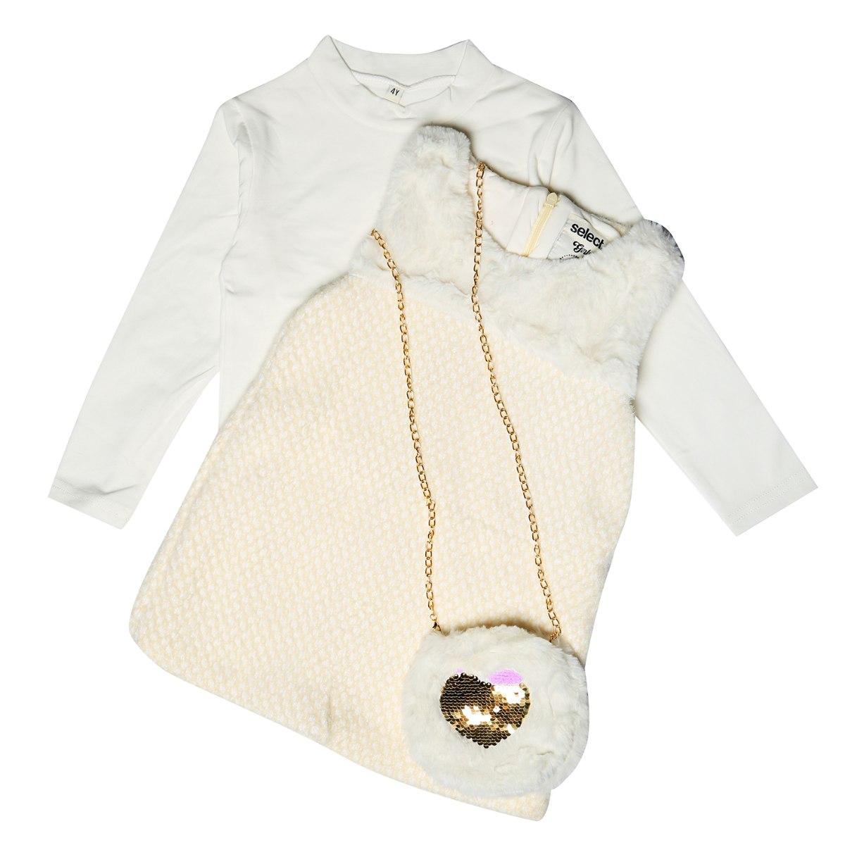 סט שמלה עם פרווה + תיק בנות