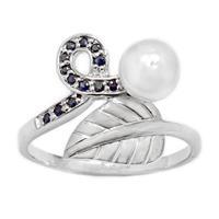 טבעת מכסף משובצת פנינה לבנה ואבני ספיר RG1639 | תכשיטי כסף 925 | טבעות עם פנינה