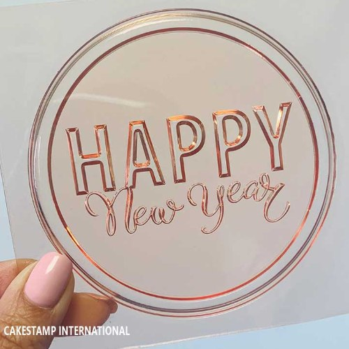 HAPPY NEW YEAR ROUND SHAPE Cake Topper  Mold | Flexible Polymer Mold | Chocolate Mold