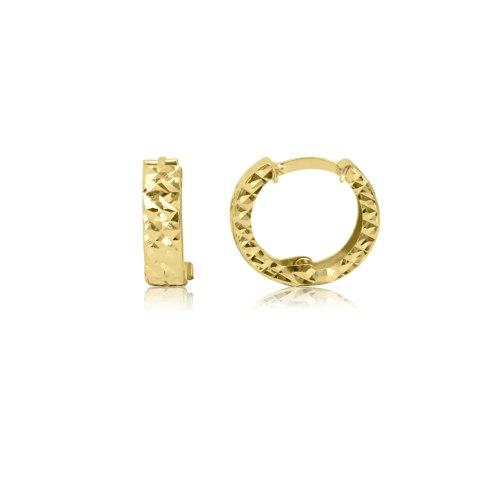 """עגילי חישוק זהב חריטת לייזר קטנים 1.2 ס""""מ"""