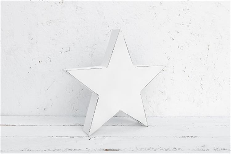 כוכב מתכת גדול לבן משופשף