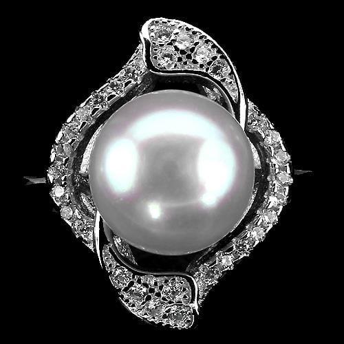 טבעת כסף משובצת פנינה לבנה וזרקונים RG2788