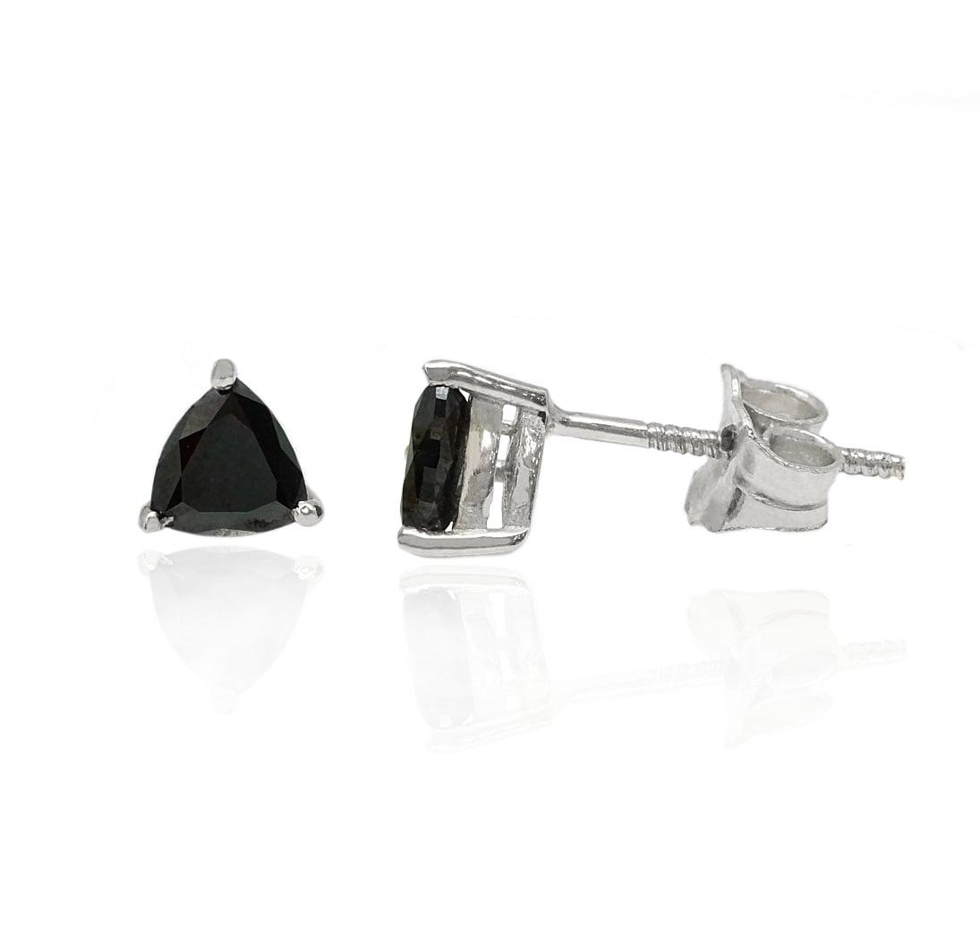 עגילי יהלומים שחורים בחיתוך משולש 1.1 קראט