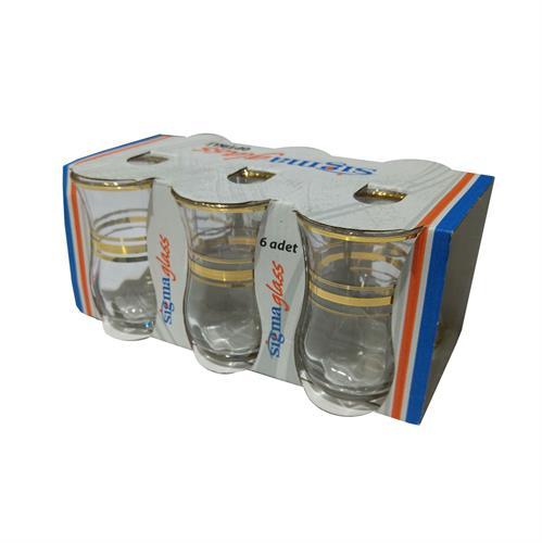 סט 6 כוסות זכוכית מעוצבות בזהב סגנון מרוקאי
