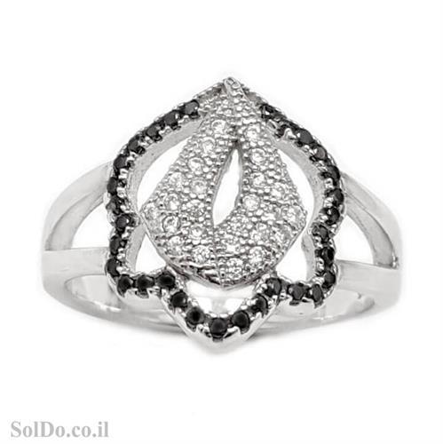 טבעת מכסף משובצת אבני זרקון שחורות ולבנות RG6061 | תכשיטי כסף | טבעות כסף
