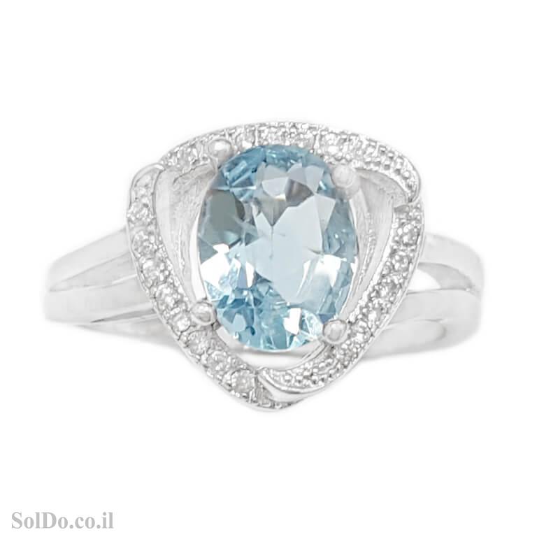 טבעת מכסף משובצת אבן טופז כחולה וזרקונים RG6137 | תכשיטי כסף 925 | טבעות כסף