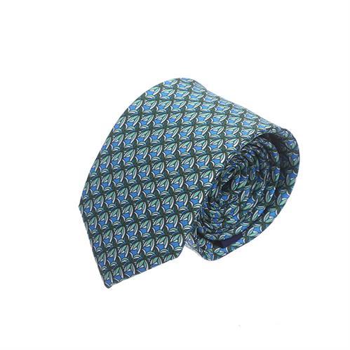 עניבה עלים תכלת ירוק