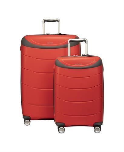 סט מזוודות קשיחות פוליפרופילן מעולות מדגם 28+RICARDO BEVERLY HILLS MENDOCINO 20 אדום