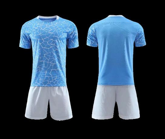 תלבושת  כדורגל צבע תכלת דמוי מנצסטר סיטי (לוגו+ספונסר שלכם)