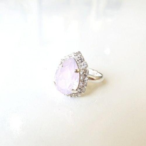 טבעת טיפה מיני - ורוד בהיר כסף