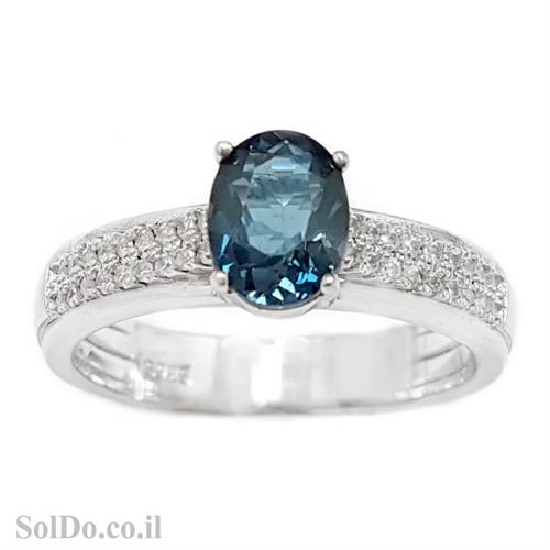 טבעת מכסף משובצת אבן טופז כחולה  וזרקונים RG6070 | תכשיטי כסף 925 | טבעות כסף